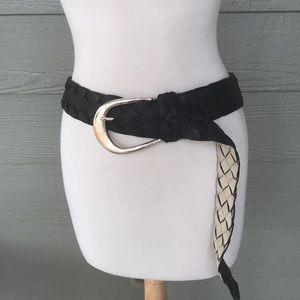 Michael, Michael Kors XL Black Leather Woven Belt